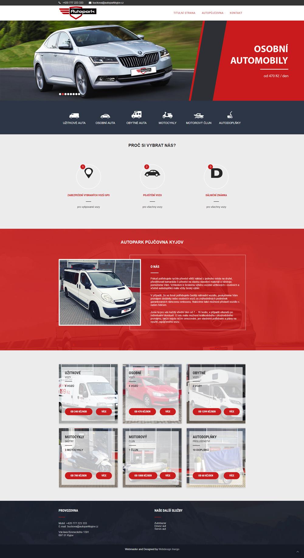 Autopark půjčovna Kyjov - webové stránky