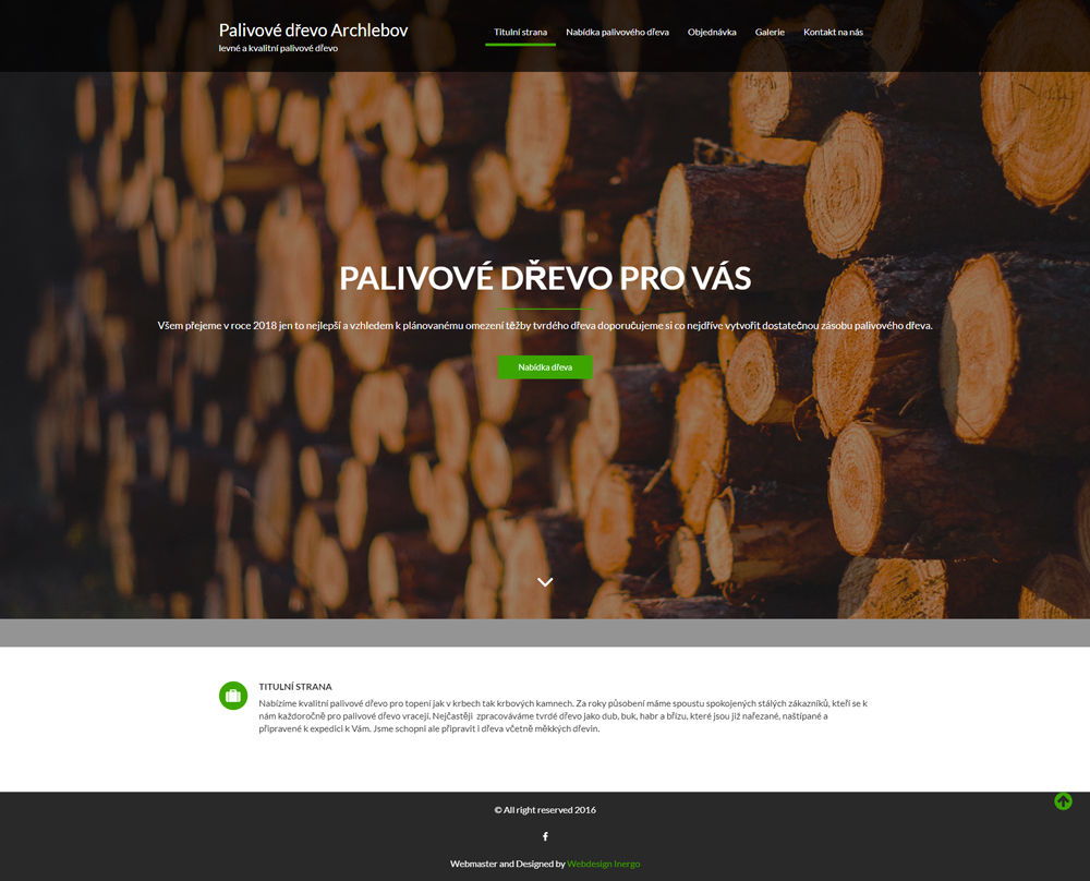 Palivové dřevo Archlebov - webové stránky