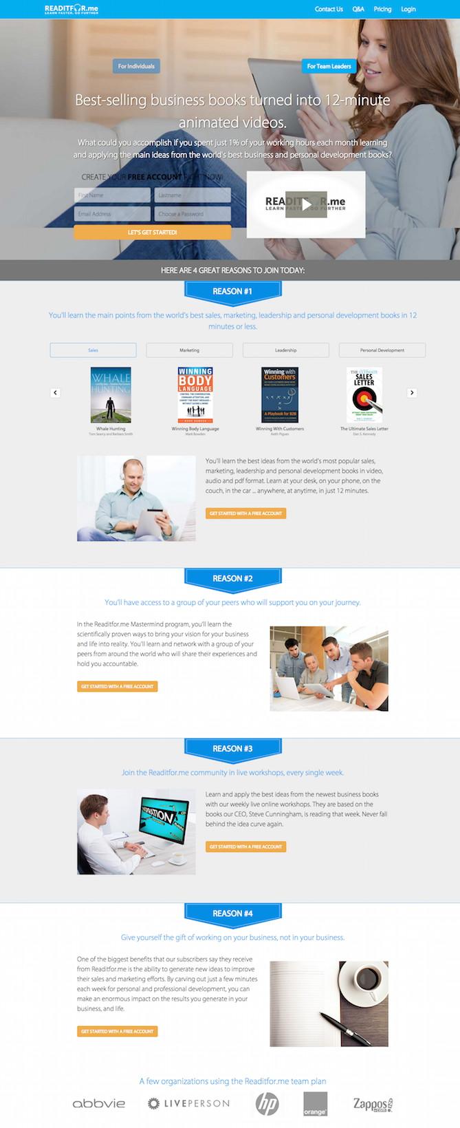 Readitforme landing page