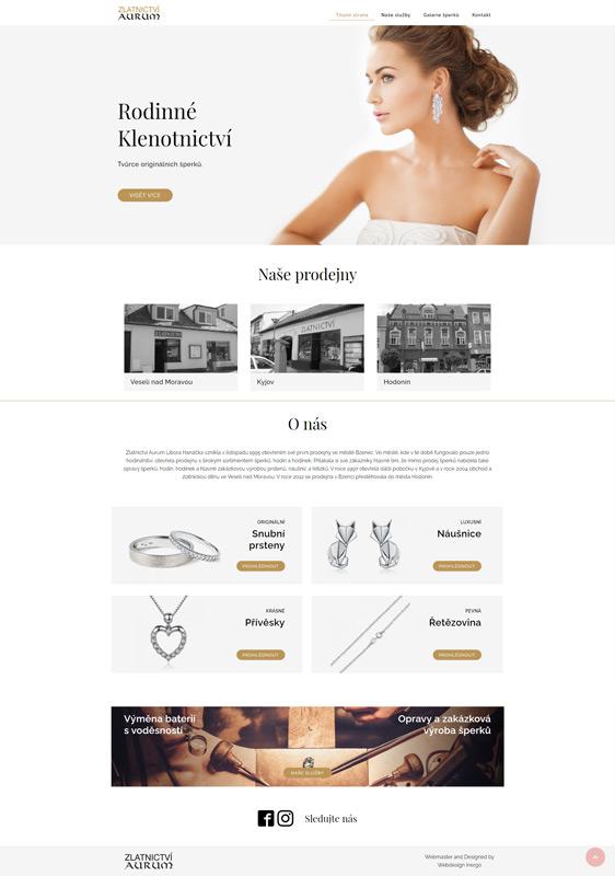 Zlatnictví Aurum - webové stránky